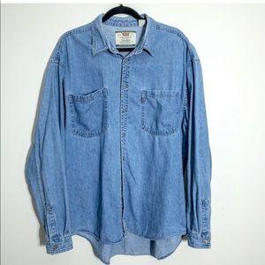 Levi's Men's XL Blue Denim Button Front Work Shirt